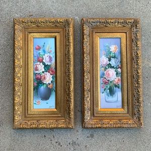 vintage framed floral original oil paintings gold